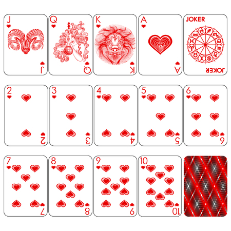 Playing cards series, heart suit, joker and back.