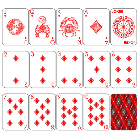 Playing cards series, zodiac signs, diamond suit, joker and back.