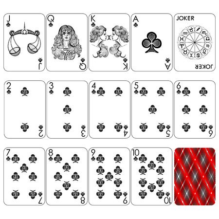 Playing cards series, club suit, joker and back.