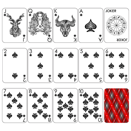 Playing cards series, zodiac signs, spade suit, joker and back.