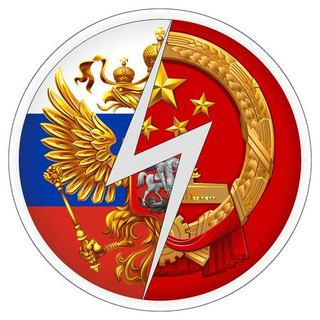 Sticker Russia VS China. The coat of arms of the Russian Federation and the Peoples Republic of China.