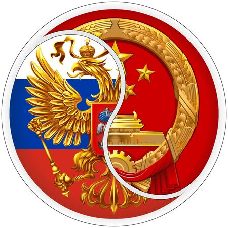 Sticker Russia and China. The coat of arms of the Russian Federation and the Peoples Republic of China. Ilustrace