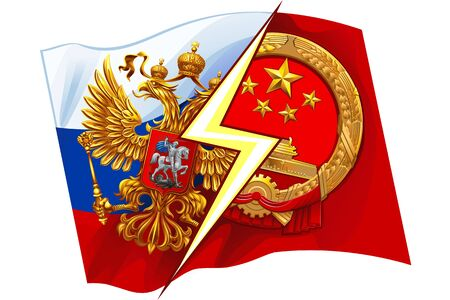 Russia VS China on the background of national flags. The coat of arms of the Russian Federation and the Peoples Republic of China.