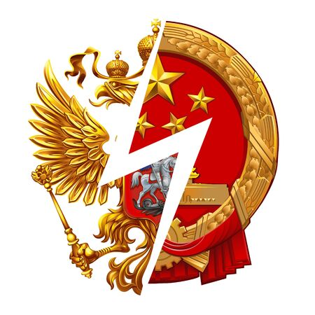 Emblems Russia VS China on the white background. The coat of arms of the Russian Federation and the Peoples Republic of China. Ilustrace