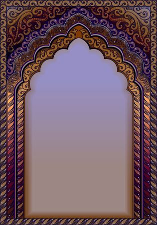 Indian ornamental arch. A4 format, text box, colors purple and gold.