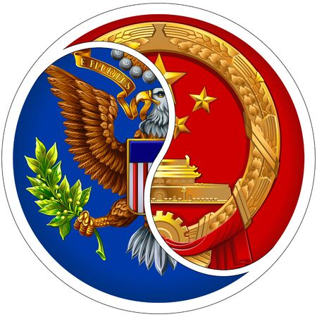 Conceptual sign of cooperation between the US and China. It intertwines coats of arms in the form of the Yin and Yang sign