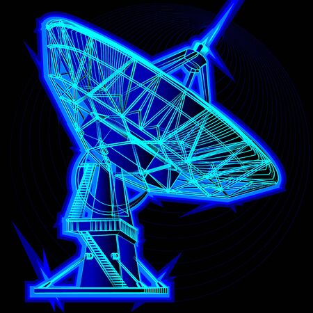 Radio telescope, parabolic antenna. On a black background, neon colors. Vettoriali