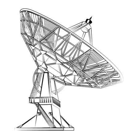 Graphic black- and- white linear drawing of a parabolic antenna. Radio antenna. Astronomy and space research