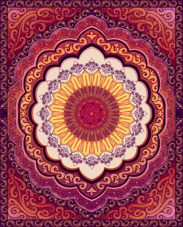 Vector Oriental carpet. Colors: purple, pink, yellow.