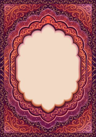 Template with an oval window for writing text, with Oriental patterns. The colors are violet, Magenta, and crimson.