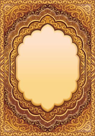 An ornamented Golden template for inserting text, with Oriental patterns. Ilustrace