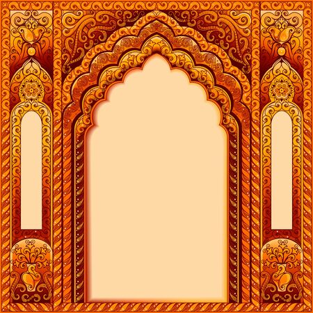 Arch with Oriental patterns. Colors orange and gold. The Central block of text.