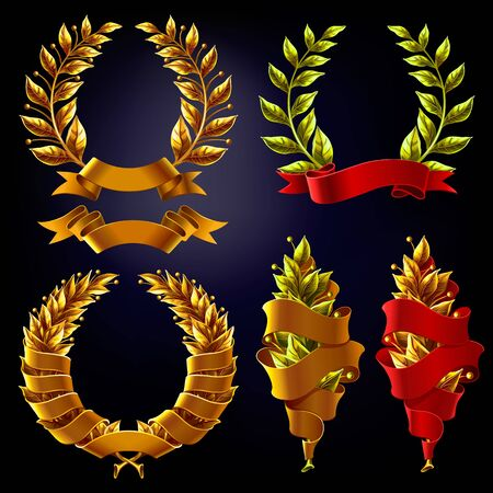 Set of Laurel wreaths with ribbons for inscriptions.