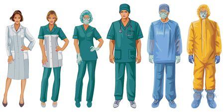 Uniformen von Ärzten und Krankenschwestern. Schutzanzug. Vektorgrafik