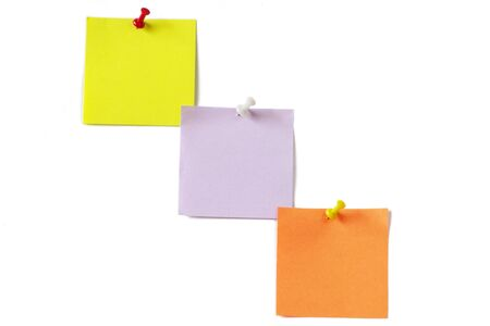 Three colored notes isolated on white background photo