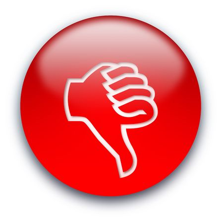 opinions: Red glossy button with a thumb turned down Stock Photo