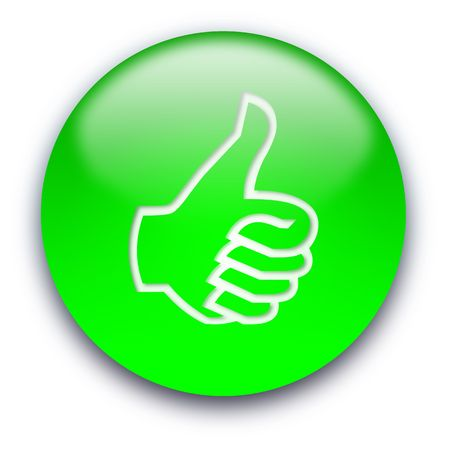 Green glossy button with a thumb turned up photo
