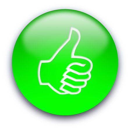 Zielony przycisk błyszczący z kciuka, w włączone w