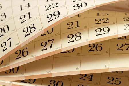 Calendar fragment with half-opened sheets in different angles Stock Photo