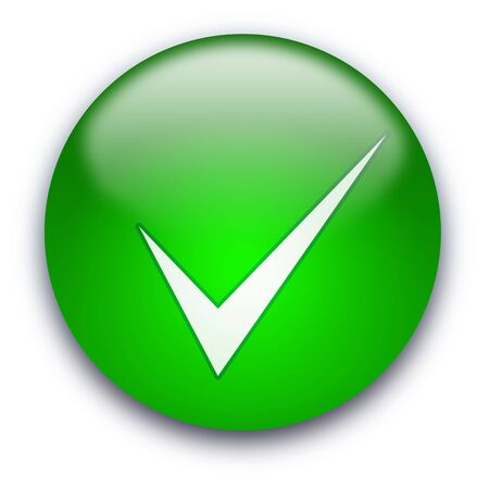 Green glossy button with white tick isolated over white background photo
