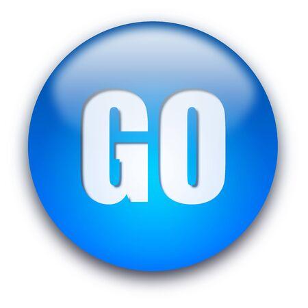 Niebieski błyszczący przycisku Przejdź samodzielnie na białym tle