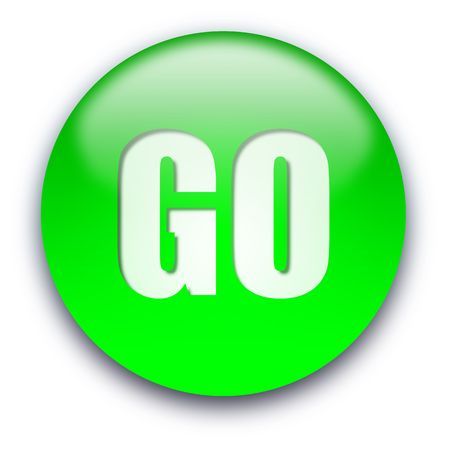 Green glossy GO button isolated over white background photo