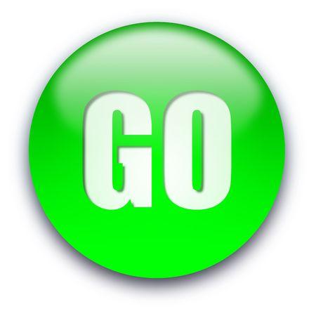 Zielona błyszczący przycisk GO izolowanych na białym tle Zdjęcie Seryjne