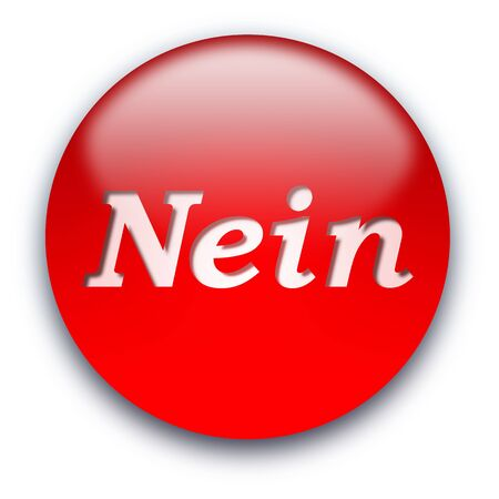 Red glossy Nein button isolated over white background Stock Photo - 5232327