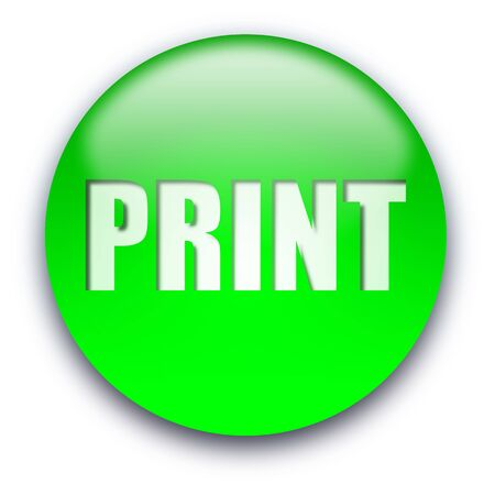 commands: Green glossy PRINT button isolated over white background Stock Photo
