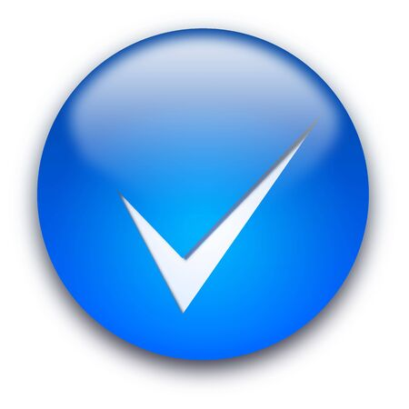 Blue glossy button with a tick isolated over white background photo