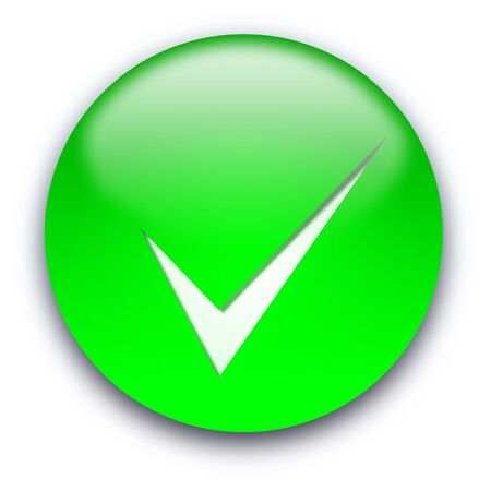 Green glossy button with a tick isolated over white background photo