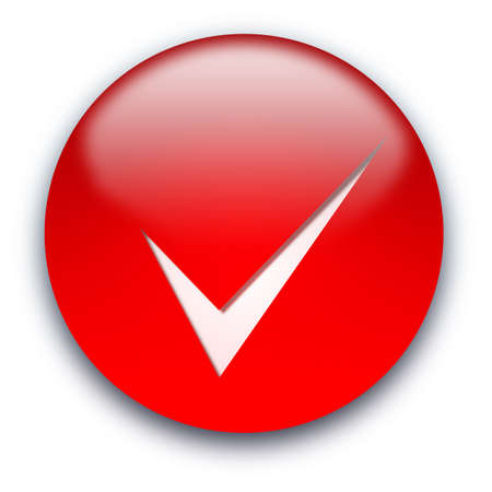 Red glossy button with a tick isolated over white background photo