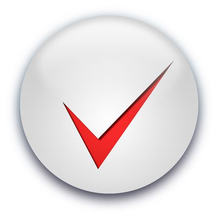 Grey glossy button with a red tick isolated over white background photo
