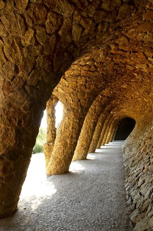 A view to Guell Park with wonderful arcs designed by Antonio Gaudi