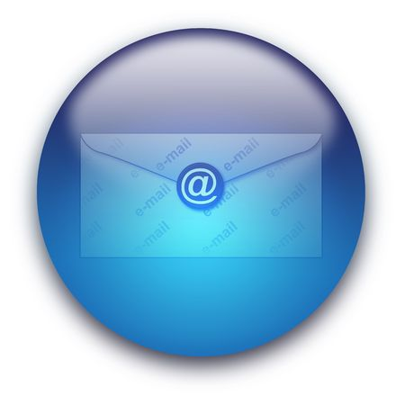 Glossy round email envelope button isolated over white background Stock Photo