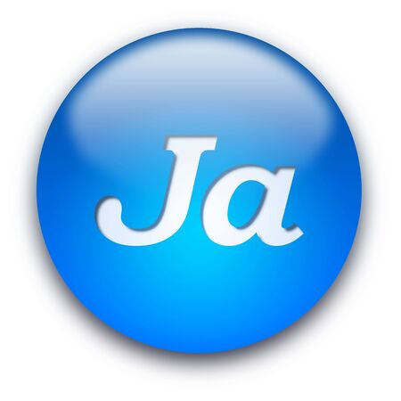 Glossy round Ja button isolated over white background photo