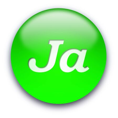 Glossy round Ja button isolated over white background Stock Photo - 5243031