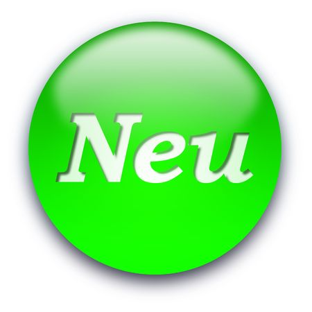 Glossy round NEU button isolated over white background photo