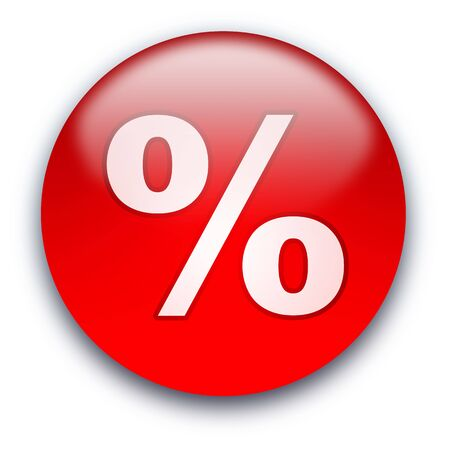 Glossy round Discount ( % ) button isolated over white background Stock Photo - 5243043