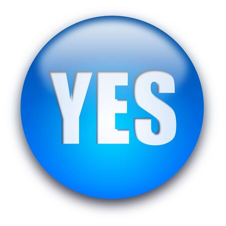Glossy round YES button isolated over white background photo