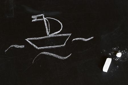 Białe łodzi na tablica, kreda dziecko rysunek stylization