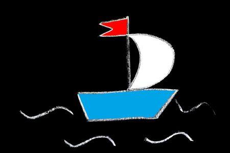 Barco de color en una pizarra, la tiza estilizaci�n de dibujo infantil Foto de archivo - 5243158