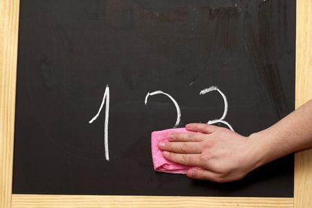 Wycieranie cyfr z tablicy, z różowego wytrzeć