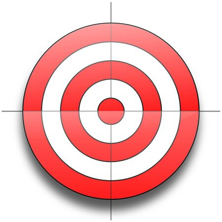 x axis: Red and white round target isolated over white background Stock Photo