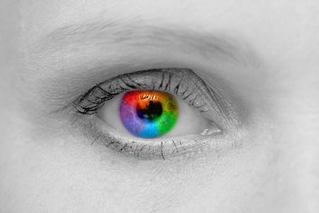 Woman eye macro shoot with rainbow pupil