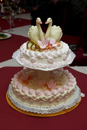 Wedding cake with two little swans on the table