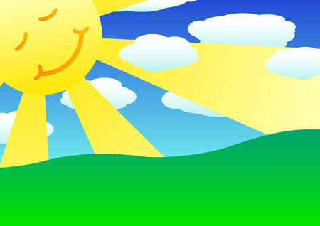 Sun, clouds and green hills landscape 2d illustration Vector