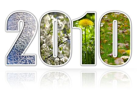 2010 year four season digits over white background with elusive reflection Stock Photo - 5320833