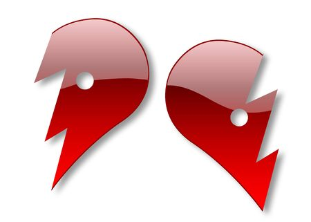 Two halves of glossy heart illustration isolated over white background illustration