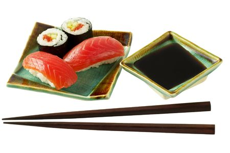 Sushi  and roll with salmon isolated over white background macro shot  photo